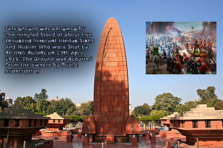 This Ground was hallowed by The mingled blood of about two Thousand innocent Hindus,Sikhs And Muslim Who were Shot by Brritish Bullets on 13th April 1919. The Ground was Acquired From the owners by Public Subscription