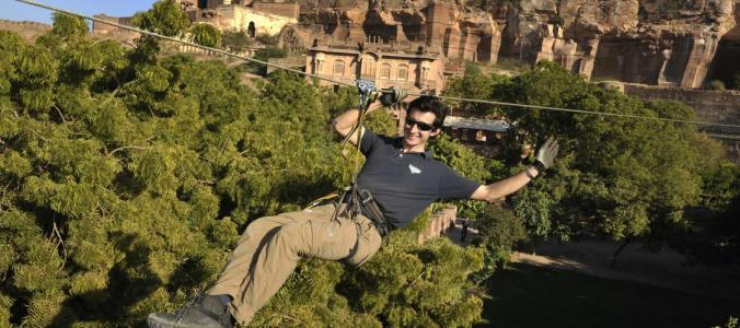 Ziplining at Neemrana Fort