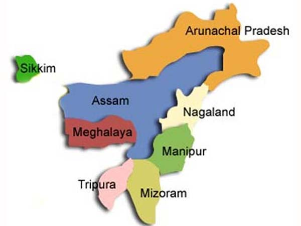 North East India States  map