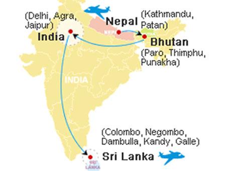 India, Bhutan, Nepal, Tibet & Sri Lanka