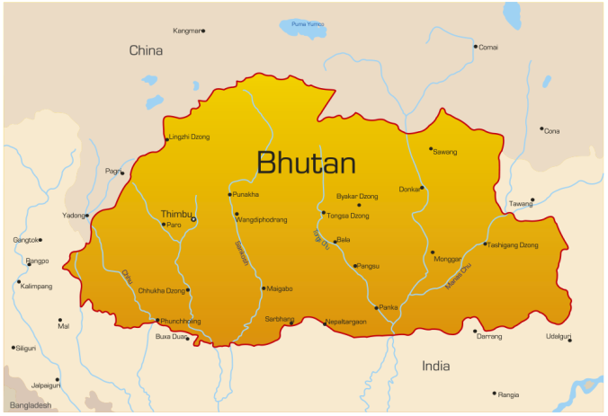 travel map of Bhutan