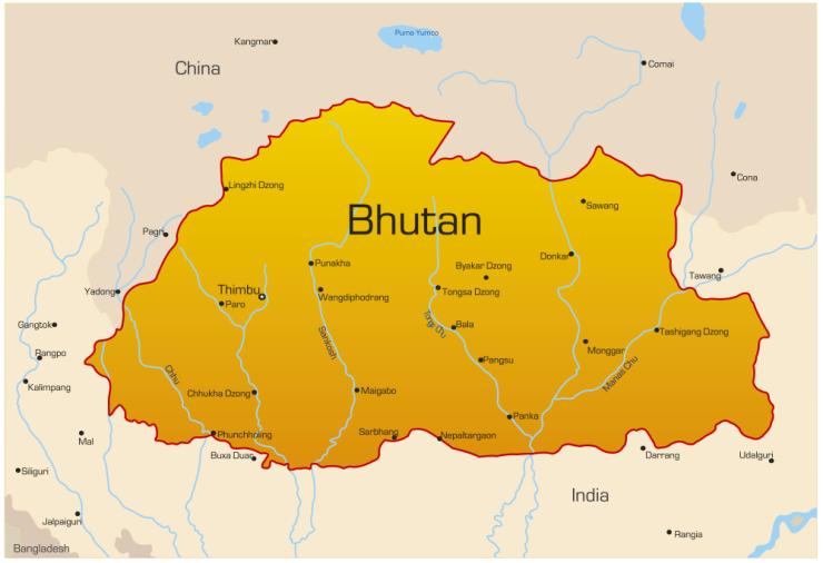 travel map of Bhutan