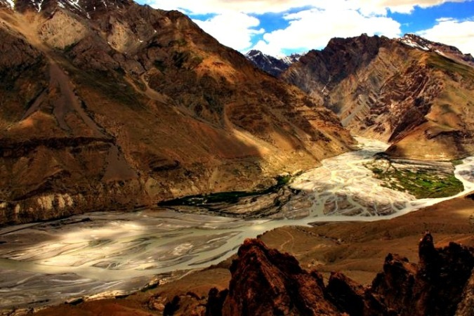 confluence_of_spiti_and_pin_river_and_pin_valley_from_old_dhankar_monastery